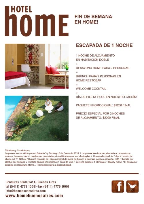 Escapada de 1 noche: promoción en Hotel Home Buenos Aires (valida para 5 y 6 de Enero 2013)